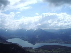Flying high over Lake Annecy.